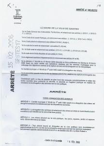 Arrêté municipal de 2006 - page 1